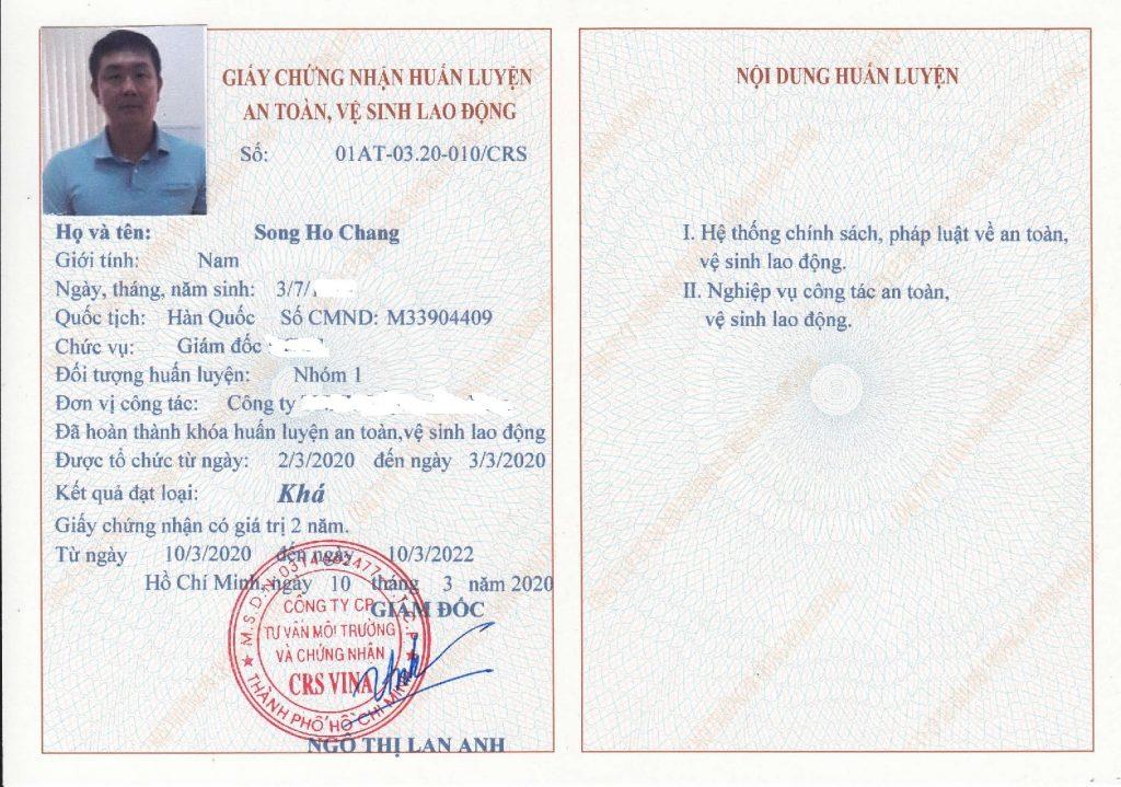 giấy chứng nhận nhóm 1 y tế